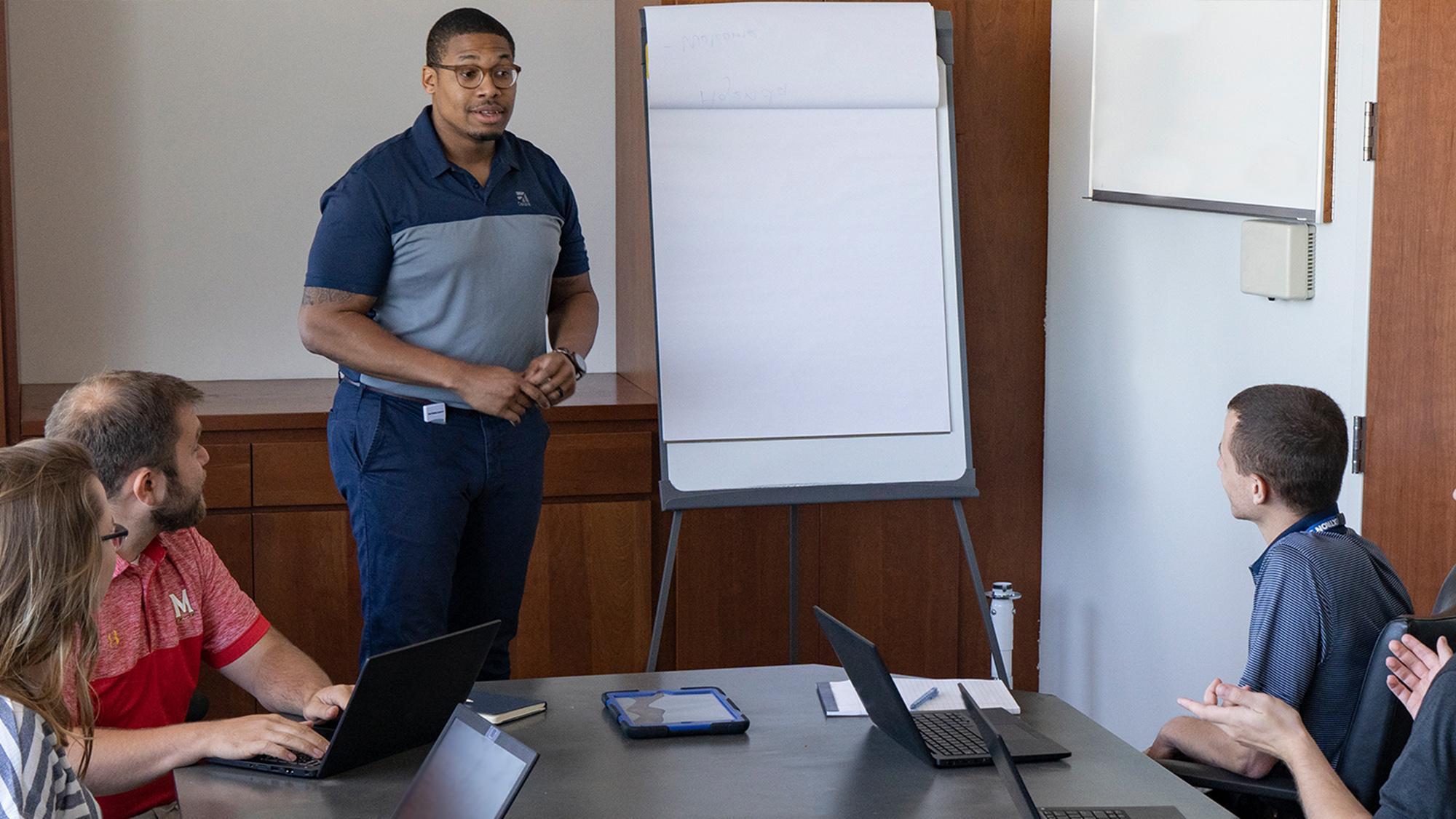 employee giving presentation