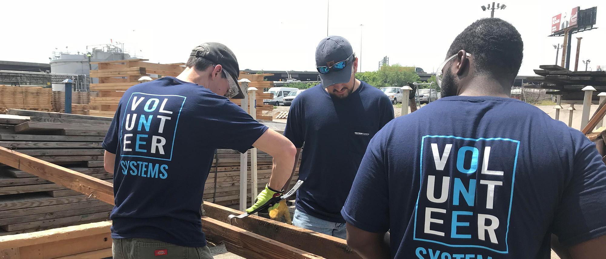 team members volunteering